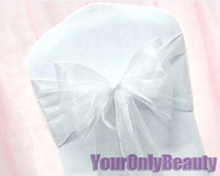 Wholesale Tracking Number White quot cm W x quot cm L Organza Chair Sashes Wedding Party Banquet