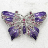 amethyst costume jewelry - C5820 D Amethyst Crystal Rhinestone Enamel Rhodium Plated Butterfly Pin Brooch Fashion costume jewelry gift