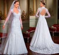 Wholesale Noiva New Long Sleeve Backless White Wedding Dresses Beaded Lace Appliqued Tassel Detachable Train Bridal Party Gowns