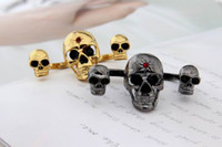 Wholesale Golden amp Black Skull Double Two Finger Ring With Skeleton Couple Vintage Rings Jewelry For Men And Women