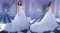 Wholesale Venice Lace Sweetheart Neckline Dropped Waist Full Ruffled Pleated Tulle Skirt Corset Wedding Dresses Lace up Chapel Train Bridal Gowns