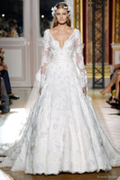 2013 Zuhair Murad V Neck Wedding Dresses with Long Sleeves a...