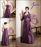 Taffeta mother of the bride dress - 2015 Vintage Purple With Jacket Long Sleeve Mother of the Bride Groom Dresses Taffeta Evening Dresses Plus Size Formal Gown Dress for Mother