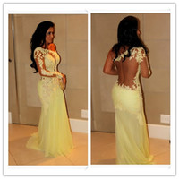 Sheath/Column Sexy Ruffle 2014 New Arrival Free Shipping Hot selling Yellow One shoulder Long Sleeve Lace Chiffon Evening Dresses Sexy Backless Prom Party Gown