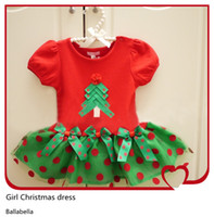 Wholesale Girl s Christmas Tree Dress Short Sleeve With Polka Dot TUTU Veil Skirt European Style Baby Girl One Piece Princess Dress Set For X mas Gift
