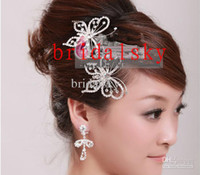 Wholesale Butterfly Crown Combs Wedding Bridal Tiara Jewelry Crystal Hair Ornaments Wedding