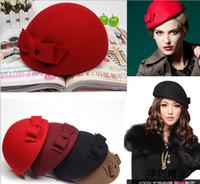 Wholesale women Wool Berets Cap Warm Hats Adult Fedora Fashion Small Brim Hats Solid Color Lady Hats Fashion Headwear Women Bowknot Beret
