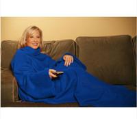 Envío libre nuevo 100% algodón Manta Snuggie con mangas libre del envío 50pcs / lot azul / rojo / del leopardo con el paquete del opp
