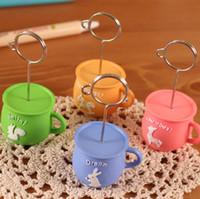 Wholesale 4 cm Cute Color Coffee Cup Notes Clips Message Folder Business Card Holder Desk Acessories SH170