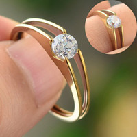 Bohemian Women's Engagement Wholesale Lots 36pcs Mix Stainless Steel Women Simple Gold CZ Crystal Engagement Wedding Ring New [JR02061C*36]