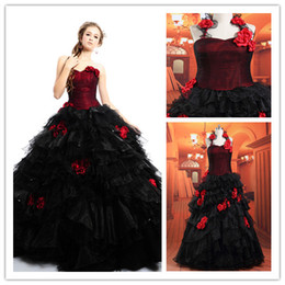Wholesale Tulle Ball Gown Sexy Sweet Heart Actual Image Red amp Black Floor Low Gothic Wedding Dress Bridal Gowns