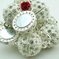 Wholesale silver plated mm Crystal Magnetic Clasps Jewelry Clasps jewelry findings