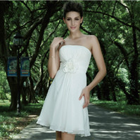 Sleeveless Strapless A-Line 2013 Simple Cheap Bridesmaid Dresses Short White Chiffon Ruffle princess Greek Style Goddess Strapless Party Dress Bridesmaid Dress