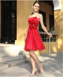 Fashion Hot!!! Cheap Fashion Bridesmaid Evening Dresses Spaghetti Strap Knee length Bow Waist Organza Homecoming Dress