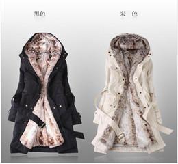 Faux fur lining women's fur coats winter warm long coat clothes