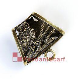 12PCS LOT Hot Fashion DIY Jewelry Pendant Scarf Findings Antique Bronze Mental Alloy Elegant Owl Design Slide Bails, Free Shipping, AC0243B