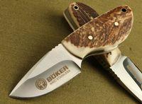 Envío gratuito mejor mini de hoja fija de cuchillo mango asta 7Cr17 Boker Mini cuchillo de caza con vaina de cuero