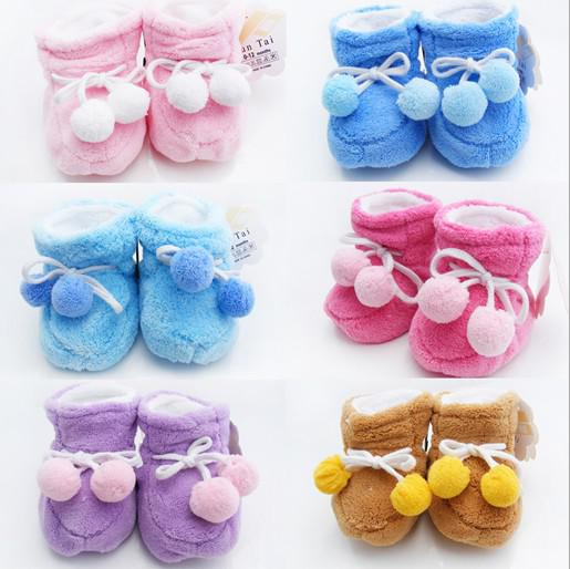 Buy 6%off!2015new!Q dribbling winter coral fleece baby cotton-padded shoes.Newborns warm shoes. /cheap/sale/baby shoes/baby wear12pairs/2J