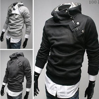 Wholesale autumn winter colors oblique zipper assassins creed costume royal buckle hoodies fleece sweatshirt hip hop