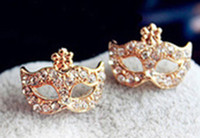 Wholesale Full Rhinestones Magic Mask Stud EarringsStylish Earrings
