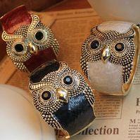 Wholesale Top fashion owl bangles alloy enemal women cuff bangle bracelet mix colors cheap