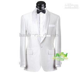 Wholesale Very popular style White Notch Lapel Groom Tuxedos Groomsmen Men s Wedding Suits Best man Suits Jacket Pants Vest Tie
