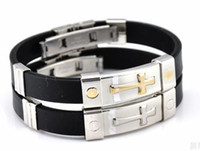 Wholesale Mix Colors screw plated stainless steel silicone bracelet with cross titanium steel men s bracelet SS017