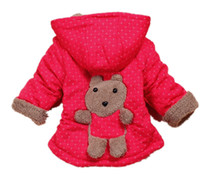 Unisex Spring / Autumn Standard Wholesale - Baby boy girl cartoon bear outerwear cute winter wear children thick coat Children kids warm parkas 4pcs lot