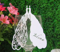 Wholesale Unique Peacock Laser Cut Place Cards for Wine Glass Wedding Party Table Decoration Christmas Name Place Card yt56