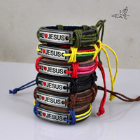 Wholesale 24pcs MIX Color I Love JESUS Bracelets Leather Alloy ID Bracelet Religious Jewelry