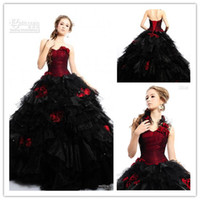 Wholesale Tulle Ball Gown Sexy Sweet Real Photos Heart Actual Image Red amp Black Floor Low Gothic Wedding Dress Bridal Gowns