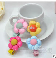 Hair Sticks Lace Floral Wholesale - 200 PCS LOT independent packing children cloth flower hair accessories, children's lovely little sun bud side clamp, hair clips,