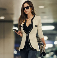 Wholesale New fashion Women Long Sleeve Slim Brand Jacket Lady Autumn V neck Black White Suit OL Jackets Plus Size