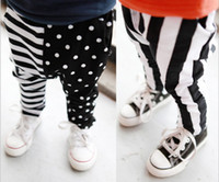 Wholesale Fall Baby Casual Harem Pants Korean Pure Cotton Black With White Dot And Stripe Kids Haren Trousers Fit M Boys Girls QZ132