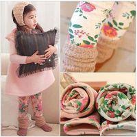 childrens leggings - New Childrens Leggings Korean Style Double Colors Flower Printed Leggings Kids Thickening Pencil Pants
