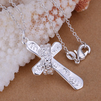 Unisex cross necklace crystal - Pretty Gift Silver Jewelry Nice Cross Fit Crown Pendant Necklace fashion necklace jewelry