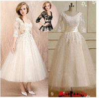 Wholesale 2013 Hot sale Fashion Gowns Ball Gown Jewel Anke length Lace Fold Applique lace Standard code Party dress Long Sleeve wedding dresses