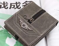 al por mayor monederos del ejército-Vintage Army Canvas Wallet Bolsillo para hombres Cencer Cente Zipper Bifold Monedero para hombres