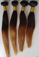 Acheter 12 pouces cheveux humains deux tons-Les cheveux teignent deux couleurs de tonalité # 1b # 30 Péruvien droit de 12 pouces à 30 pouces, 3 pcs ou 4 pcs ombre couleur cheveux humains