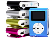Wholesale LCD mini clip MP3 Player with screen earphone usb cable retail glass colors
