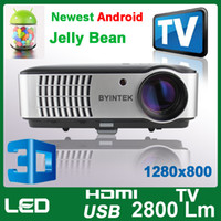 Wholesale Low Cost Cheap Android OS Wifi P WXGA x800 D Video Laptop Computer HDMI USB TV LCD LED Projector For HDTV Blu Ray Wii Xbox