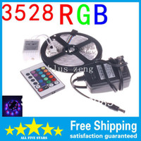 Wholesale 3528 RGB LED Strip Flexible Light M Led SMD IR Remote Controller V A Power Adapter Blue Green Red White