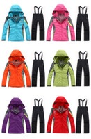 Wholesale Women Two Pieces Windproof and Waterproof Winter Outdoor Sport Jacket Set Ski Suit And Strap Pants S M L XL XXL