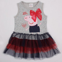 Wholesale Gray Nova children clothes m y baby girls cupcake dresses kids cartoon clothing peppa pig costume tank top dress girls tutu party dress