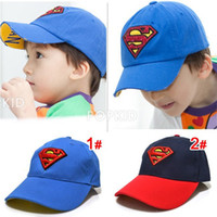 black hat - Kids superman costume Embroidered hat Blue Black baseball cap Super man hat batman Beret Hat colors T T