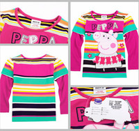 Unisex Summer Long-Sleeved Brand New Nova PEPPA PIG & George Pig CLOTHING baby girls t shirt cotton long sleeve yarn dyed stripe autumn girls shirts tops 0-7T,5pc lot