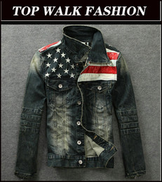 Wholesale DENIM JACKETNew American flag jeans jacket for men Fashion motorcycle jeans short jacket do old jeans denim coat