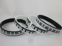 printed silicone bracelet - Printed Piano Keys Bracelet Music Keyboard Silicon Wristband White black