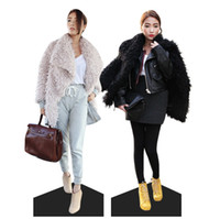 Unisex Cotton Couple Fashion # stylenanda # Korean winter new lambs wool suit collar large lapel long-sleeved thick fur coat women