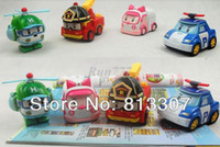 Wholesale Christmas gift Rwith retail pack Robocar poli deformation car bubble South Korea Thomas toys models mix robocar poli